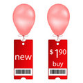 New and buy tags with fly balloon Royalty Free Stock Images