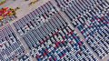 New cars from the car factory parked at the port waiting for exp Royalty Free Stock Photo