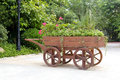 New cart with flowers Royalty Free Stock Photo