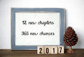 12 new chapters, 365 new chances, new year quotation Royalty Free Stock Photo