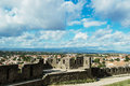 New city viewed from the old fortress of carcassonne in aude department of france seen form walled Stock Photo