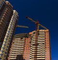 New condominium construction of tall at spring sunny day Stock Photo