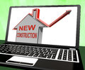 New Construction House Laptop Means Recently Constructed Home Royalty Free Stock Photo