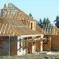 New custom home under construction in vancouver canada Stock Photos