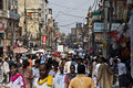 New deli bustle a bustling street in delhi india Royalty Free Stock Image