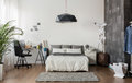 New design bedroom image of with king size bed Royalty Free Stock Photo