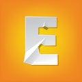 E capital letter fold english alphabet New design