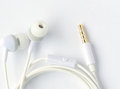 New earphone closeup of white Royalty Free Stock Image