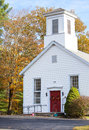 New england church traditional american in autumn Royalty Free Stock Photos
