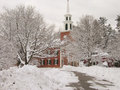 New England church in winter Stock Photos