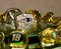 New england patriots superbowl ring on display at pawn stars pawn shop Stock Photo
