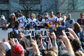New England Patriots 53th Super Bowl Championship Parade in Boston on Feb. 5, 2019 Royalty Free Stock Photo