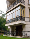 New fiberglass balcony glazing in city house moscow Stock Images