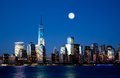 The new freedom tower and lower manhattan skyline at night Royalty Free Stock Photos
