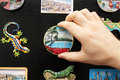 A new fridge magnet from the last vacation Royalty Free Stock Photo