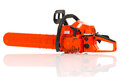New gasoline powered chainsaw over white background with reflection Stock Photos