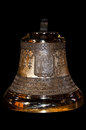 New golden shiny orthodox church bell isolated black Stock Image