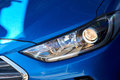 New headlight of blue car Royalty Free Stock Photo