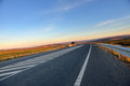 New highway road empty at sunset moment Stock Photo