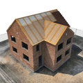 New home being built with bricks on white. Angle from up. 3D illustration Royalty Free Stock Photo