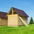 A new home being built with wood Royalty Free Stock Photo