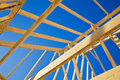 New home construction framing against blue sky closeup of ceiling frame Royalty Free Stock Image
