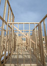 New home construction wood studs wooden built Royalty Free Stock Photos