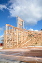 A new home under construction wooden framed being built Royalty Free Stock Photo