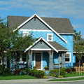 New House Home Exterior Bright Blue Royalty Free Stock Photo