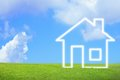 New house imagination vision on green meadow conceptual image Stock Photography
