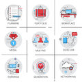 New Idea Generation Light Bulb Business Workplace Meeting Icon Set Earnings Cooperation Planning