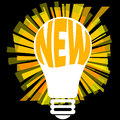 New idea illustration with a light bulb and the word in it Royalty Free Stock Photos