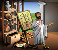 New invention of archimedes ancient greek scientist represents his vector illustration Stock Photos