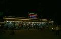 New Jalpaiguri Railway station colourfully lit at night Royalty Free Stock Photo