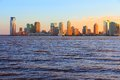 New jersey united states nj downtown skyline with hudson river sunset light Stock Image