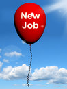 New job balloon shows new beginnings in careers showing Royalty Free Stock Photography