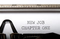 New job chapter one typed on a vintage typewriter Royalty Free Stock Image