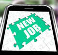 New Job Smartphone Shows Changing Jobs Or Employment Royalty Free Stock Photo