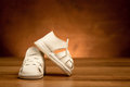New kid`s leather shoes Royalty Free Stock Photo