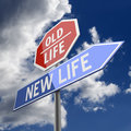 New life and old life words on road sign red blue Royalty Free Stock Photo