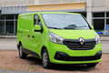 New lime green renault trafic van raasepori finland may dci parked on a yard Royalty Free Stock Image