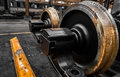 New locomotive wheels in vehicle repair station Stock Image