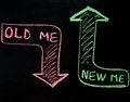 New me replacing old me concept handwriting on blackboard personal evolution Royalty Free Stock Photos
