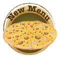 A new menu label with a pizza illustration of on white background Stock Image