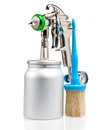 New metal brilliant Spray gun And brush Royalty Free Stock Photography