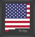 New Mexico map with American national flag illustration Royalty Free Stock Photo