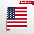 New Mexico State map with US flag inside and ribbon Royalty Free Stock Photo
