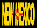New Mexico text with flag Stock Photography