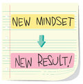 New mindset new result vector illustration of self development concept to written on striped paper Stock Image