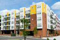 New modern apartment building newly constructed with ground level garage Royalty Free Stock Images